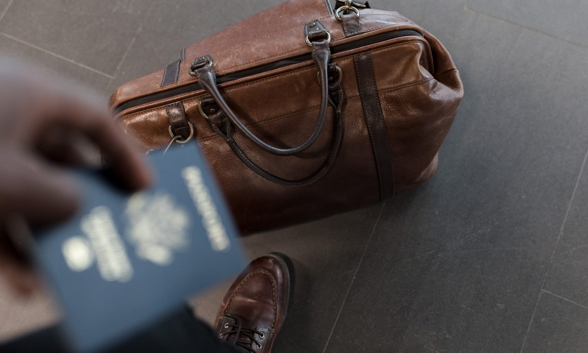 leather bag with passport